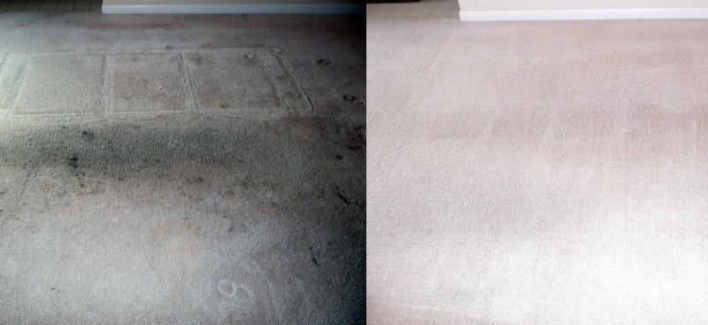 Before and after photos - cleaning extremely dirty, greasy carpet