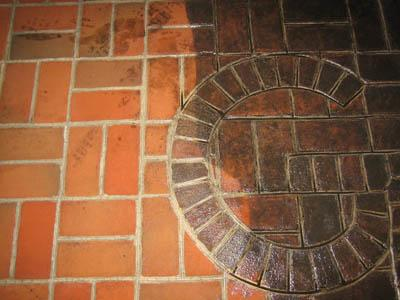 Brick floor in restaurant in the St. Louis area showing our brick cleaning service.