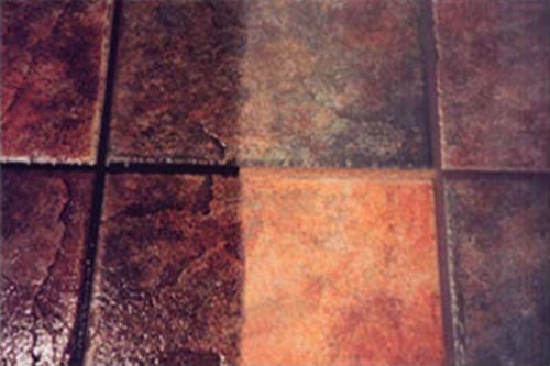 Tile cleaning St. Charles County MO area - shows before and after.