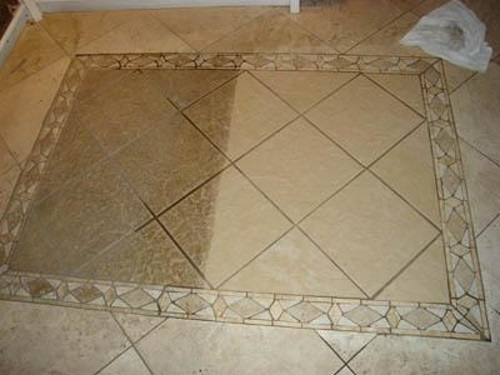 Tile Cleaning Wentzville MO area - shows before and after