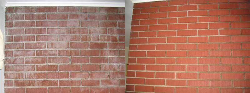 Brick chimney cleaning before and after
